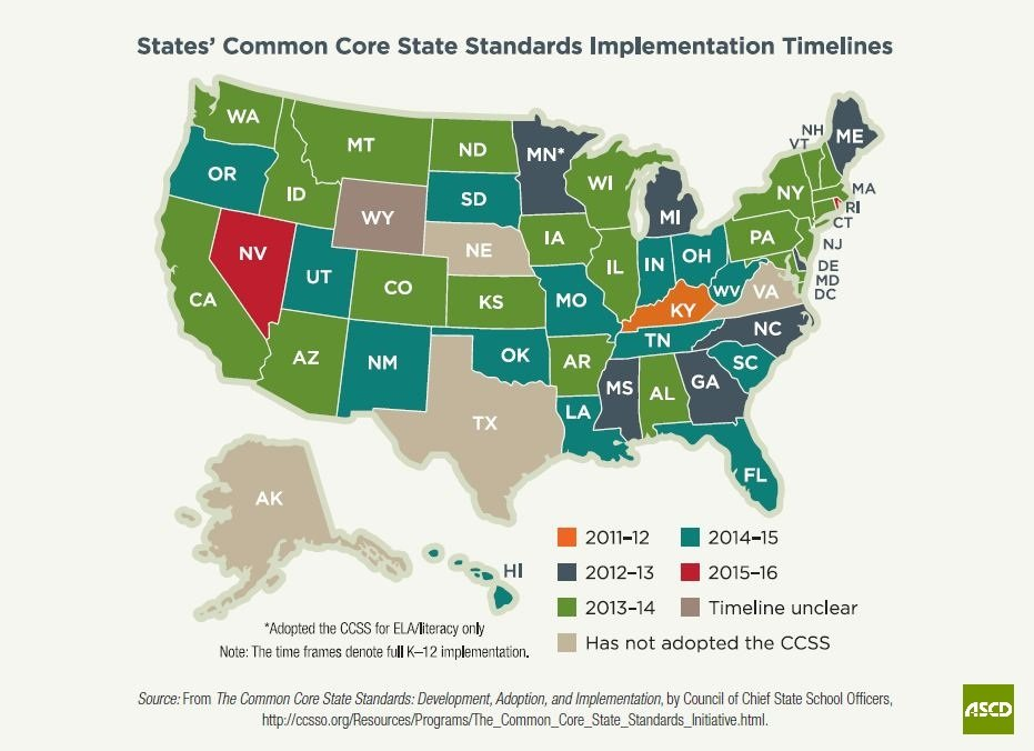 Textbook Adoption States Map.Common Core Initiative The Institute Of Progressive Education And